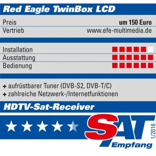 Red Eagle TwinBox LCD E2 Linux Twin Sat Receiver mit 2x Sat Tunern 1x CI & 1x Kartenleser
